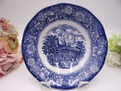 Vintage Liberty Blue Monticello Blue and White by SecondWindShop