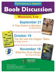 THESE PROGRAMS HAVE EXPIRED - Check out a book at the Crothersville Checkout Desk and join the book discussion!