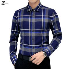 9c1a3dd41 XMY3DWX men fall slim Fit leisure cotton grid long sleeve shirt/Male  premium brand business shirt/size S 5XL Free shipping-in Casual Shirts from  Men's ...