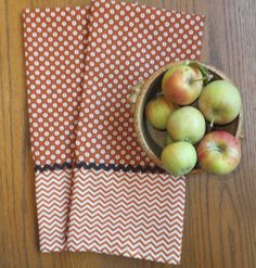 Set of 2 - Cinnamon Nutmeg Donuts and Chevrons - Cotton Kitchen Dish Towels, Tea Towels, Industrial Mid-Century Look, Farmhouse Kitchen. $14.00, via Etsy.
