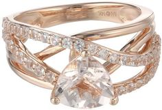 #Jewelry #Rings 14k Pink Gold Morganite and Created White Sapphire Ring