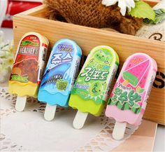 New Cute Creative Popsicle Rubber Eraser For Kids Student Gift Novelty Item School Supplies Stationery Free Shipping 629