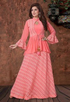 Coral Pink Georgette Designer Lehenga Choli with Jacket Style Peplum Blouse Party Wear Indian Dresses, Designer Party Wear Dresses, Indian Gowns Dresses, Indian Designer Outfits, Girls Frock Design, Long Dress Design, Stylish Dresses For Girls, Stylish Dress Designs, Girls Dresses Sewing