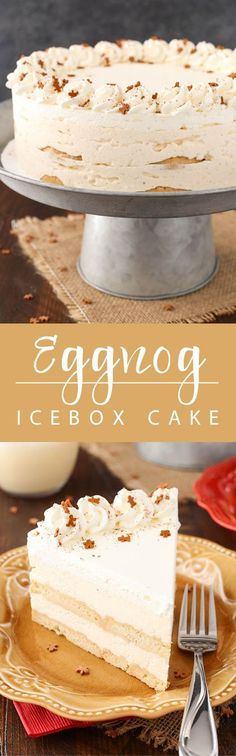 No Bake Eggnog Icebox Cake - layers of eggnog mousse whipped cream and Walkers shortbread cookies! So easy to make and great for Christmas! No Bake Eggnog Icebox Cake - layers of eg No Bake Desserts, Just Desserts, Irish Desserts, Icebox Desserts, Southern Desserts, Layered Desserts, Holiday Baking, Christmas Baking, Walkers Shortbread Cookies