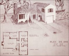 1948 Home Building Plan Service - 1001 - Homes like this plan were often called tri- or split-levels. Some appear in plan books before WWII, but after the war the style becomes much more prevalent. It's a very modern design that incorporates the garage into the main house; an innovation that didn't commonly occur until after 1950 and then not as a prominent element. The front-and-center garage is seen much more often in middle-class homes after 1955.