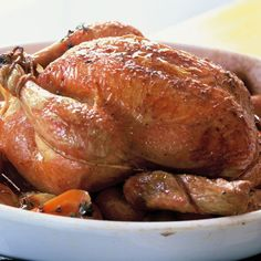 Meghan Markle - Perfect Roast Chicken from Barefoot Contessa. Preheat the oven to 425 degrees. Remove the chicken giblets. Rinse the chicken inside and out. Remove any excess… Roast Chicken Recipes, Turkey Recipes, Dinner Recipes, Game Recipes, Dinner Ideas, Recipies, Food Network Recipes, Cooking Recipes, Healthy Recipes
