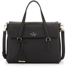 kate spade new york holden street leslie satchel bag ($398) ❤ liked on Polyvore featuring bags, handbags, black, leather satchel purse, leather purse, leather satchel handbags, black satchel purse and black satchel