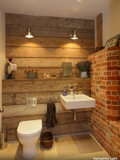 Rustic furniture: 50 examples of modern country-style bathroom furniture rustic bathroom with decorative brick wall - Furniture Ideas Rustic Bathroom Designs, Rustic Bathrooms, Modern Bathroom, Small Bathroom, Bathroom Ideas, Bathroom Wall, Brick Bathroom, Bathroom Vanities, Bathroom Storage