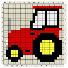 Down on the Farm Crochet Charts - The Crafty CoFree graph patterns for crochetingFant noen fine diagrammer av eThis could work for melty beads too! Graph Crochet, Crochet Car, Pixel Crochet, Knitting Charts, Baby Knitting Patterns, Crochet Patterns, Cross Stitch Charts, Cross Stitch Patterns, Cross Stitching