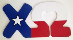 These connected MDF letters are for Chi Omega. They feature a Texas flag design. Connected letters are currently available for Delta Gamma,