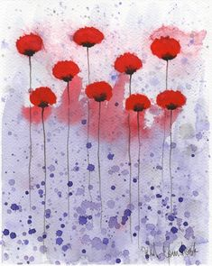 Watercolor Flowers, Watercolor Poppies, Original Art by PopwheelArt Watercolor Paintings For Beginners, Easy Watercolor, Abstract Watercolor, Watercolor Flowers, Beginning Watercolor Tutorials, Watercolor Pictures, Painting Techniques, Pintura Country, Contemporary Abstract Art