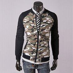 Camouflage Men Zip Varsity Sweat Jacket   Sneak Outfitters