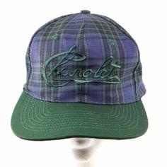 0d24c012f39 Vintage Chevrolet Hat Ball Cap Snapback Green Blue Plaid Adjustable Sun San  90 s  SunSan  BaseballCap
