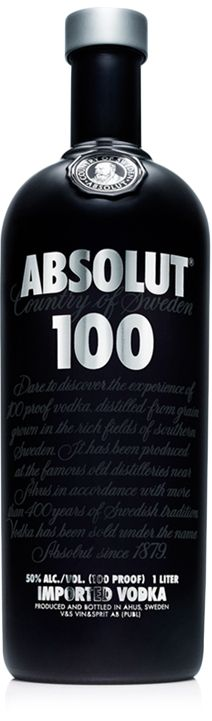 ABSOLUT 100. The true taste of vodka.    An intense, yet exceptionally smooth super premium vodka. Even a small amount gives the total ABSOLUT 100 experience. The stylish black bottle stands out from the ordinary, enhancing the luxurious treat.