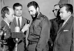 Future Quebec premier René Lévesque (far left), then a journalist for Radio-Canada, interviews Cuban leader Fidel Castro, centre, in Montreal in April 1959. This photograph by La Presse photographer Paul Henri Talbot was republished in The Gazette on Oct. 18, 1986. Standing between Castro and Lévesque is Claude Dupras, then-president of the Young Chamber of Commerce, who organized a drive to send toys to children in Cuba. On the far right is lawyer Raymond Daoust, who initiated the toy…
