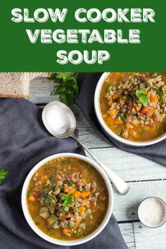 Ever wonder what soup mix was? Throw soup mix into the slow cooker with a few chopped vegetables and some vegetable stock. Eight hours later you will have this delicious thick and hearty slow cooker vegetable soup. Slow Cooker Vegetable Soup Recipe, Detox Vegetable Soup, Vegetable Soup Recipes, Chicken Soup Recipes, Slow Cooker Recipes, Vegetable Stock, Soup Mixes, Vegan, Stuffed Peppers