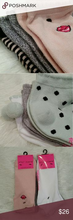 Betsey Johnson Super Soft Low Cut Socks Super soft acrylic/nylon/spandex fabric combo. Brand new. Two, 3 packs sold together.  See pics for close up of volors & design features.  Womens size 9-11. MSRP $18 each pack.  BJ 35960 BJ 35955  Saled in ziploc. Pet friendly home. Betsey Johnson Accessories Hosiery & Socks