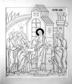 Byzantine Icons, Orthodox Icons, New Testament, Christian Art, Coloring Pages, Sketches, Faith, Black And White, Drawings