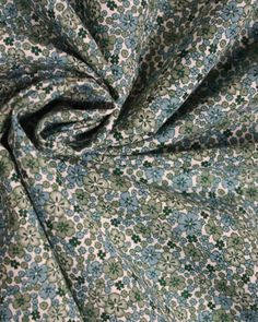 Brushed Cotton Twill Fabric | Retro Floral Teal | Truro Fabrics