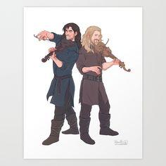 fili&kili - music Art Print by Pabu Fili Y Kili, Kili And Tauriel, Hobbit Art, O Hobbit, Legolas, Thranduil, Hobbit Dwarves, Bagginshield, Middle Earth