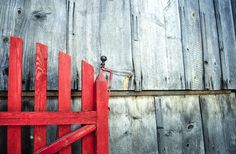 wooden red gate on an old barn this is a scan from a slide film, I shot with Canon Fence, Barn, Black And White, Photography, Painting, Color, Homes, Black White, Blanco Y Negro