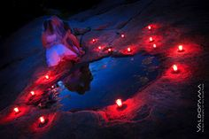 post-wedding, afterglow artistic photo session, tidal pool, candles, dusk, bride, groom, red, blue, Rocky Neck Park, CT