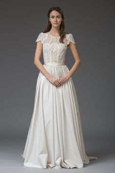 Rosa. Gorgeous lace wedding dress from Katya Katya Shehurina #lace #capsleeves #wedding #dress