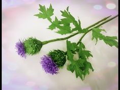 How To Make Thistle Flower From Crepe Paper - Craft Tutorial - YouTube
