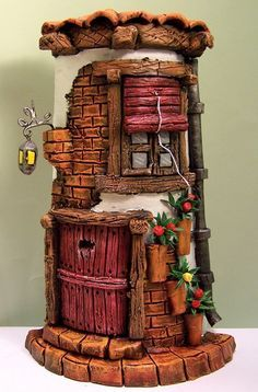 Risultati immagini per tejas decoradas Clay Houses, Ceramic Houses, Miniature Houses, Clay Fairy House, Fairy Houses, Tile Crafts, Clay Crafts, Fairy Crafts, Clay Fairies