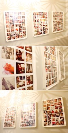 Instagram; Ikea frames.    GREAT IDEA! Love the smaller frames within a big frame because INSTAGRAM photos are smaller file size (resolution), and get very pixilated when blown up much larger than they are meant to appear on your screen. Pixilation in printed photos is a huge pet peeve of mine.. I cant stand it!