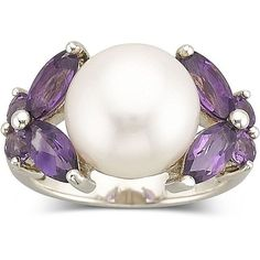 Amethyst & Cultured Freshwater Pearl Ring (£77) ❤ liked on Polyvore featuring jewelry, rings, women, cultured pearl ring, freshwater pearl ring, freshwater pearl jewelry, fresh water pearl ring and amethyst rings