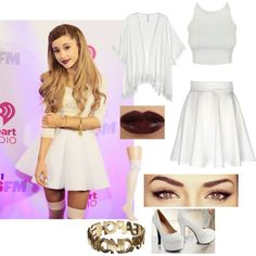 White ariana grande outfit by turntupbae on Polyvore featuring Cool Change, Betsey Johnson and Cheap Monday