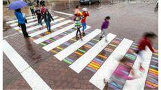 Rafael Perez Martinez Bulgarian artist Christo Guelov has been turning the crosswalks in Madrid, Spain, into fun and colorful art pieces. Named 'Funnycross'… Passage Piéton, Pedestrian Crossing, Paving Pattern, Zebra Crossing, Public Realm, Sr1, Land Art, Art Festival, Public Art
