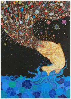 """Penetrators,"" 2012 by Fred Tomaselli. Courtesy of the artist and James Cohan Gallery"