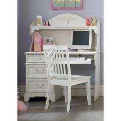 Liberty Arielle Antique White Student Desk And Hutch