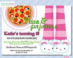 Pizza and Pajamas Slumber Party Birthday Invitations by LullabyLoo, $18.00