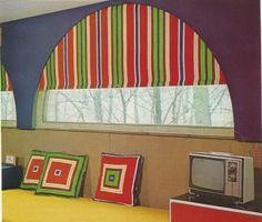 vintage home decorating, 1970s, window treatments