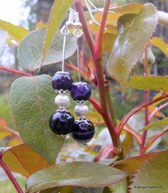 Szolid füli. :) 8-10mm lila csíkos achát ásvány és 6mm-es ezüst poros gyöngyből készült. Fruit