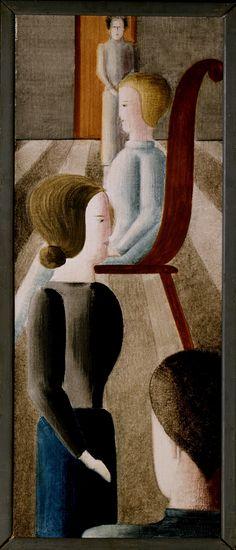 Oskar Schlemmer | Gruppe mit Sitzender (Fünf Figuren im Raum), 1928