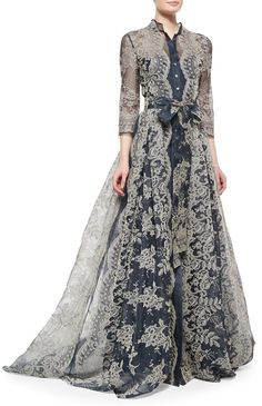 Carolina Herrera Embroidered Lace Pleated Gown - quite like the shirt-dress aspect of this, it's a nice twist on Edwardian style Vestidos Vintage, Vintage Dresses, Vintage Outfits, Look Fashion, Hijab Fashion, Fashion Design, Winter Fashion, Carolina Herrera, Beautiful Gowns