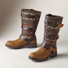 """RIO GRANDE BOOTS--These Woolrich® wool and nubuck leather boots celebrate the rich history of lumber camps and woolen mills that made Woolrich® famous. Quality and heritage in two-toned leather, treaded soles and inner side zip. Imported. Exclusive. Whole and half sizes 6 to 10, 11. 1"""" heel."""