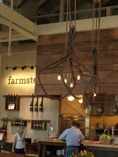 Repurposed farm implement chandeliers- Farmstead in St. Helena, CA/ EDG Interior Design