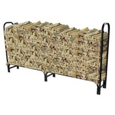 This Log Rack from Pleasant Hearth holds up to half of a cord of wood. The heavy tubular design in black will keep wood off the ground and dry throughout the seasons. The open design allows for easy and quick access to the wood. Wood Mantel Shelf, Rustic Mantel, Wood Mantels, Firewood Holder, Firewood Storage, Steel Fire Pit Ring, Timber Logs, Log Holder, Round Fire Pit