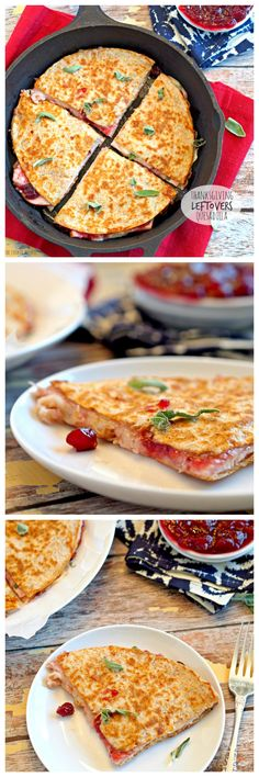 Thanksgiving Leftovers Quesadilla! 3 cheese, turkey and sage quesadilla.  The perfect day after Thanksgiving lunch! Yum! | http://www.thecookierookie.com/thanksgiving-leftovers-quesadilla/ |