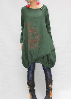 Women autumn dress/ loose linen dress/ blouse shirt by MaLieb