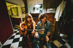 thebaxley:  Jenny Lewis and Ryan Adams at PAX AM studios