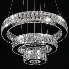 Modern Crystal Round Ring LED Pendant Lamp Ceiling Lights Chandelier Lighting #MOJU #Modern