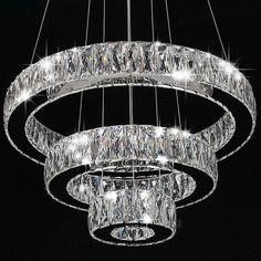 Modern Crystal Round Ring LED Pendant Lamp Ceiling Lights Chandelier Lighting #MOJU #Modern