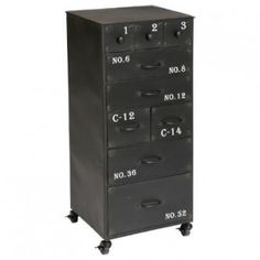 Borough Wharf This black chest is both practical with its 9 drawers and aesthetic. It will create an atmosphere in your room. Malm, Commode Design, Style Loft, Chest Of Drawers, Locker Storage, Cabinet, Furniture, Home Decor, Leeloo