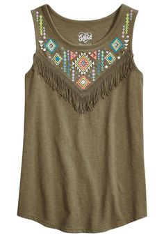 Embroidered Fringe Tank (original price, $17.50) available at #Justice